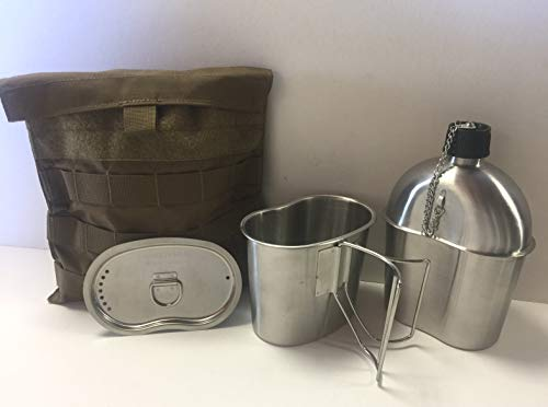 Stainless Surplus Steel (G.A.K G.I. Style Stainless Steel 1qt. Canteen with Cup and Vented LID with Surplus G.I. Issue Canteen Cover. (Coyote Brown Side Plate Pocket))