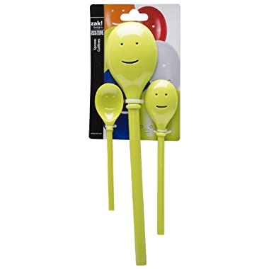 Zak Designs Happy Face 3-Piece Kitchen Spoon Set, Kiwi