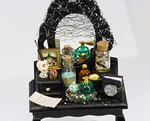 Dollhouse Miniature Halloween Decorated Black Vanity with Stool]()