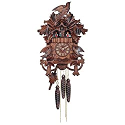 River City Clocks One Day Musical Cuckoo Clock with Hand Carved Birds, Leaves, and Nest
