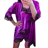 Ruziyoog Women Satin Sleepwear Set Lace Babydoll Nightwear Sleeveless Strap Purple