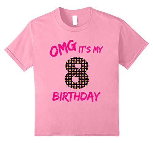Unisex Child OMG Its My 8 Birthday Emoji Pink TShirt