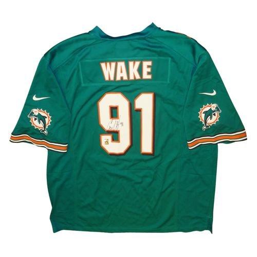 Cameron Cam Wake Autographed Miami Dolphins (Teal #91) 2012 Nike Jersey - Wake Holo