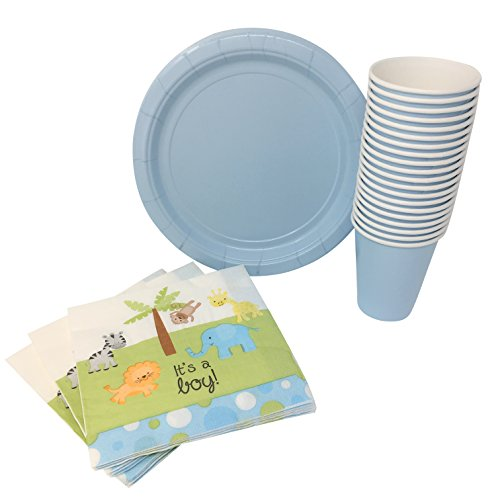 Baby Boy Shower Party Supplies Bundle for 20 Guests: Disposable Paper Plates, Napkins and Cups