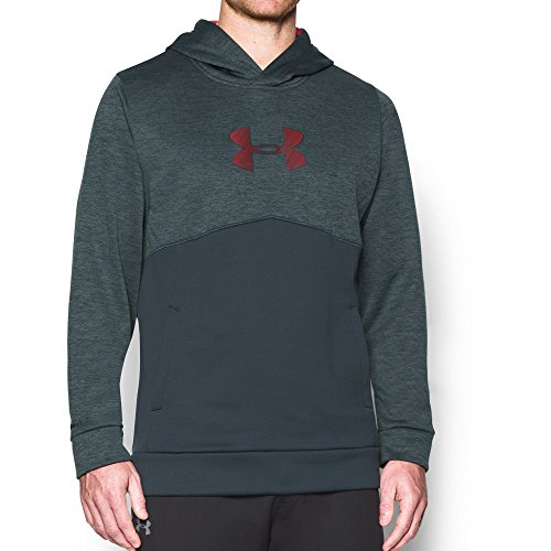 Under Armour Men's Storm Icon Logo Twist Hoodie, Stealth Gray/Red, Large