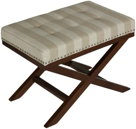 Cortesi Home Kayla Traditional X Bench Ottoman