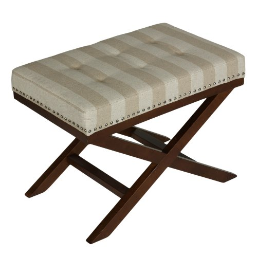 Cortesi Home Kayla Traditional X Bench Ottoman in Linen with