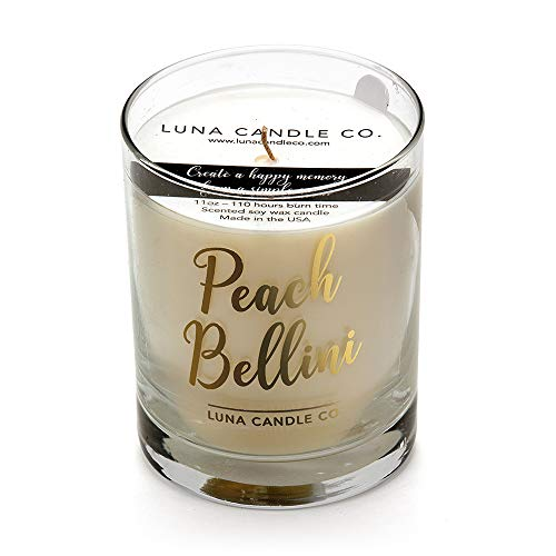 - LUNA CANDLE CO. Peach Bellini - Scented Luxurious Candles - 11 Oz