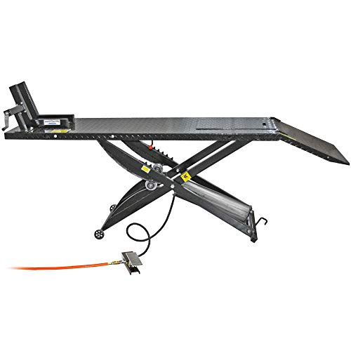 Rage Powersports Air Operated Motorcycle Lift Table with Wheel Chock