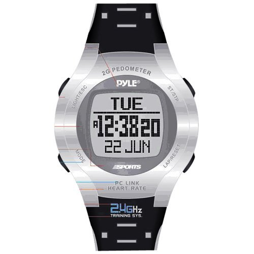 Pyle Sports Heart Rate Monitor Watch with Step Counter, C...