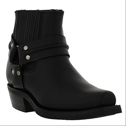 Western Lo Ankle Boots Boot Biker Real Black Stylish Cowboy Casual Ridding Renegade Grinders Leather vq5w44