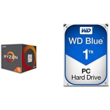 AMD Ryzen 5 1600 Processor with Wraith Spire Cooler (YD1600BBAEBOX) & WD Blue 1TB SATA 6 Gb/s 7200 RPM 64MB Cache 3.5 Inch Desktop Hard Drive (WD10EZEX)