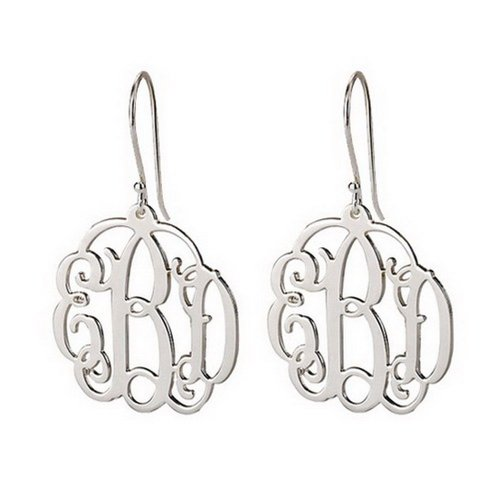 Mini Monogram Earrings -Mini Initial Earrings 925 Sterling Silver