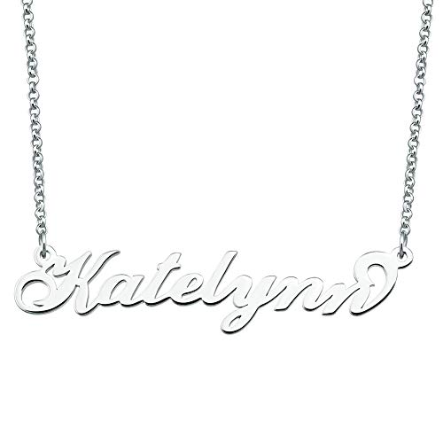 547633d4ba607 JewelryJo Customized Sterling Silver Necklace Same Day Shipping Name Tag  Personalized Name Necklace Katelynn