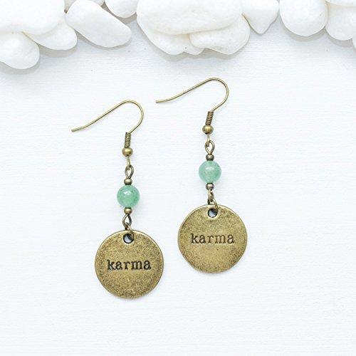 - Dainty Karma Earrings - Natural Green Aventurine Lucky Gemstone Spiritual Healing Jewelry - Handmade with love in Phoenix, AZ