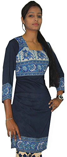 Indian-100-Cotton-Blue-Color-Top-Kurta-Women-EthnicTunic-Kurti-plus-size-Elephant-Print
