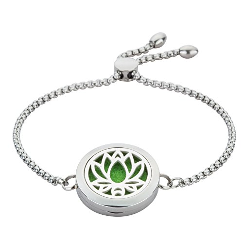 Jenia Women's Essential Oil Diffuser Bracelet Stainless Steel Cuff Bangles Aromatherapy Locket Charm Fragrance Jewelry for Teens Girls, Wife, Kids Party Gift by Jenia