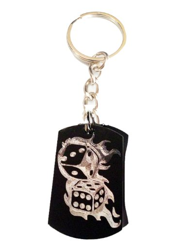 Gambling Craps Cards Lucky Flaming Dice Logo Symbols - Metal Ring Key Chain Keychain