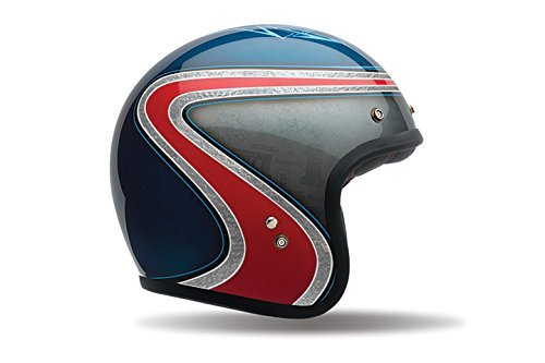 (Bell Custom 500 Special Edition Open-Face Motorcycle Helmet (Airtrix Heritage Blue/Red, Medium))