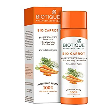 Biotique Bio Carrot Face Body Sun Lotion Spf 40 Uva Uvb Sunscreen For All Skin Types In The Sun 120ml Amazon In Beauty