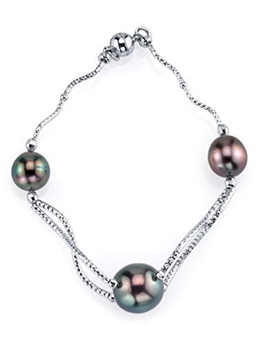 Exotic Designer Sterling Silver 9-12mm Tahitian South Sea Cultured Pearl (Sterling Silver Tahitian Pearl Bracelet)