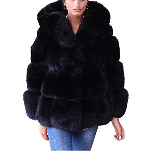 Lisa Colly Women Winter Furs Coat Jacket Luxury Faux Fox Fur Coat Slim Long Sleeve Collar Coat Faux Fur Coat Overcoat (3XL, Black 1)
