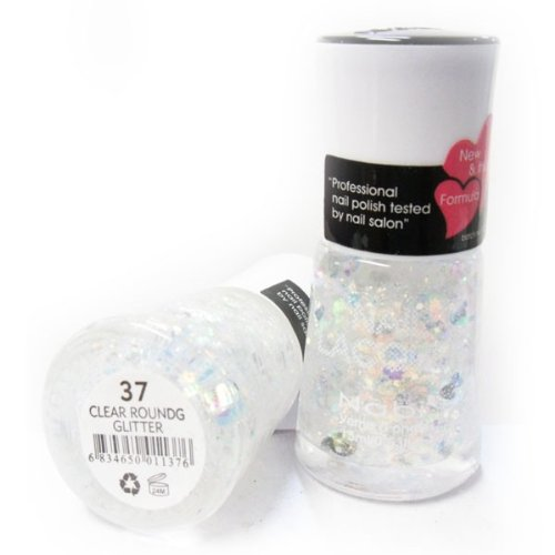 Nabi Nail Polish Clear Round Glitter 37 - 15 mL (Weird Nail Polish Colors compare prices)