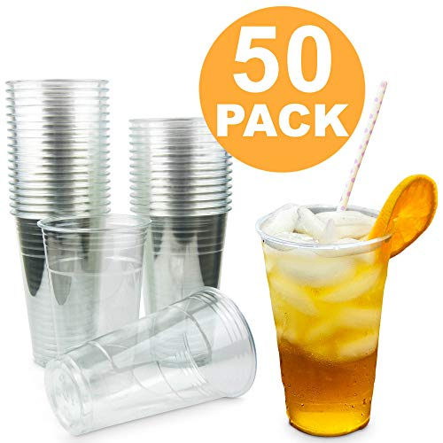 [50 Pack] 24 oz BPA Free Clear Plastic Cup - Iced Cold Drink Coffee Tea Juice Smoothie Bubble Boba Frappucino, Disposable, Extra Large Size, No Lid