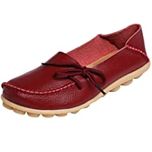 Fashion brand best show Women's Leather Loafers Flats Casual Round Toe Moccasins Wild Breathable Driving Shoes Beige