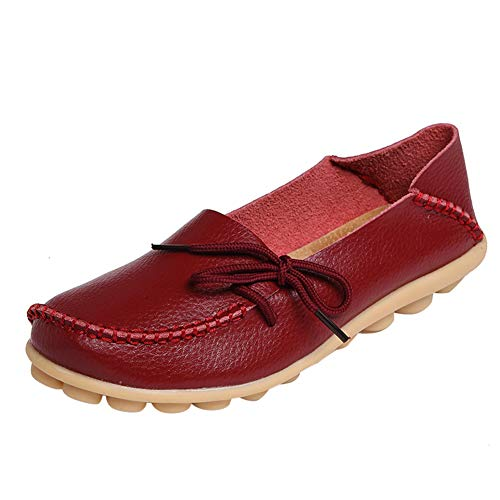 - DUOYANGJIASHA Women's Leather Loafers Slip On Flats Casual Round Toe Moccasins Wild Breathable Comfort Driving Fashion Soft Shoes