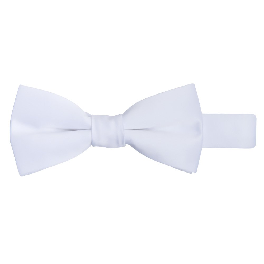 Jacob Alexander Boy's Kids Pretied Banded Adjustable Solid Color Bowtie - White