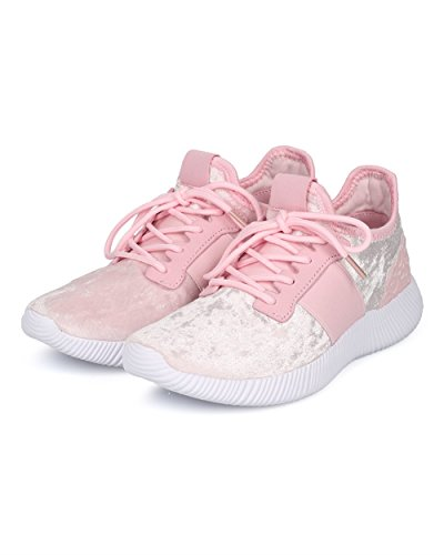 Alrisco Women Jogger Sneaker - Lace Up Low Top Jogger - Gym Exercise Work Out Running Shoe - HC83 by Liliana Collection Pink Mix Media JzCHOgWG