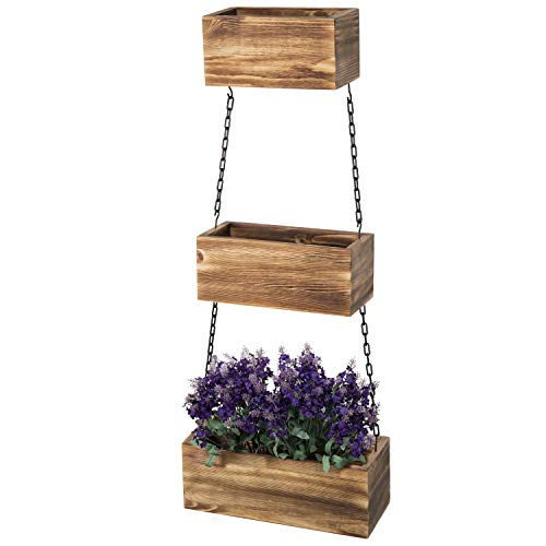 MyGift Wall-Hanging Rustic Wood 3-Tier Planter Boxes with Black Metal Chains