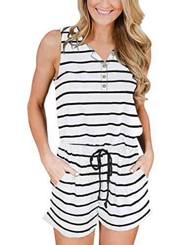 Romper Button Down - YIBOCK Women's Summer Sleeveless Button Down Striped Short Jumpsuit Cami Romper (A-White, S)