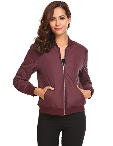 Zeagoo Womens Zip Up Cotton Quilted Bomber Jacket (Quilted Sweater Jacket)