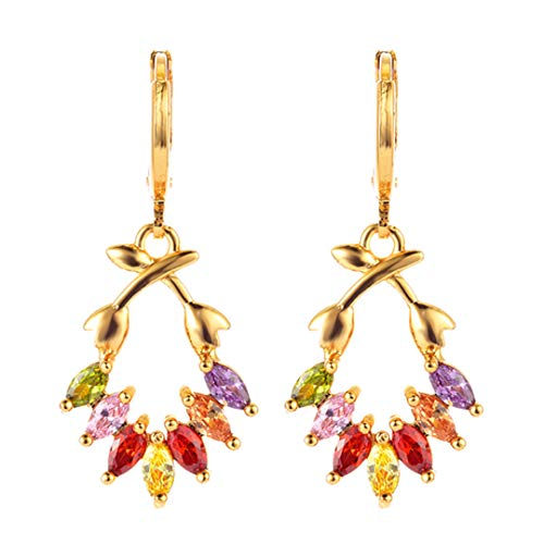 (Women CZ Gold Color Earrings Branch Zircon Drop Dangle Earrings Jewelry XEG486 )