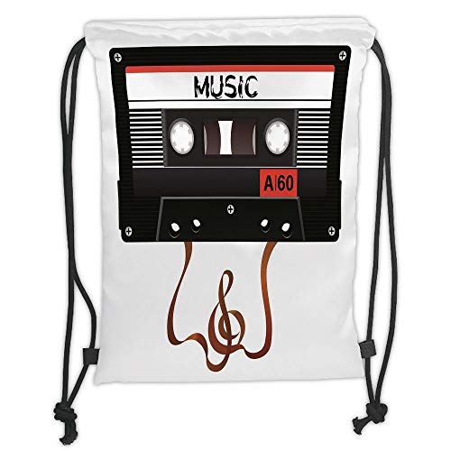 New Fashion Gym Drawstring Backpacks Bags,70s Party Decorations,Broken Analogue Audio Cassette Music Playing Record Technology,Black White Gold Soft Satin,Adjustable String Closur ()