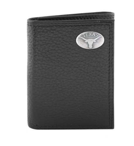 NCAA Texas Longhorns Black Pebble Grain Leather Trifold Concho Wallet, One (Texas Longhorns Pebble Leather)