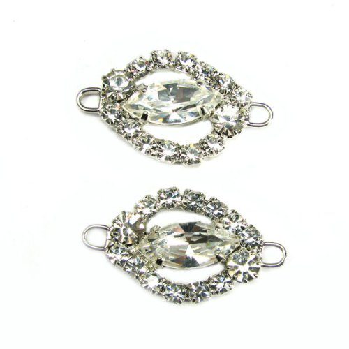 Mode Beads Rhinestone Navette Frame and Stone Connector, 1.18 by 0.75-Inch, Crystal/Silver - Cheerleader Bead