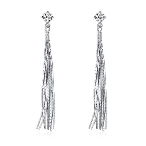 YFN Sterling Silver Tassel Long Drop Dangle Earrings for Women