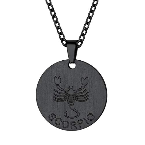 FaithHeart Customizable Astrology 12 Constellation Horoscope Necklace, Black Gun Plated Scorpio Zodiac Star Sign Coin Pendant Necklace Birthday Gifts Lucky Charms Layered Necklace (Black)