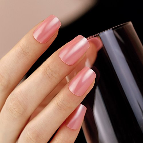 Amazon.com : ArtPlus 24pcs x 2 (2-Pack) Deep Pink Elegant Touch False Nails Premium Pack Full Cover Long Length with Glue Fake Nails Art 2 Boxes in 1 : ...