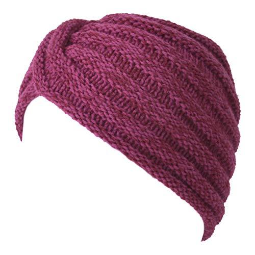 Knit Womens Turban Beanie - Warm Winter Hat Head Wrap Hippie Boho Chic Retro Fashion Fortune Teller Vintage Bonnet Red