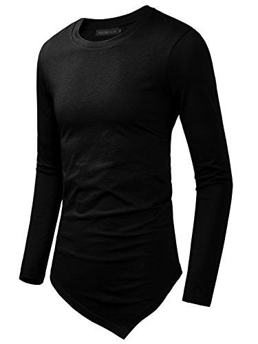 HEMOON Men's Cotton Round Neck Long Sleeve Irregular Hemline T-Shirt Top Black M (Mens Black Tunic)