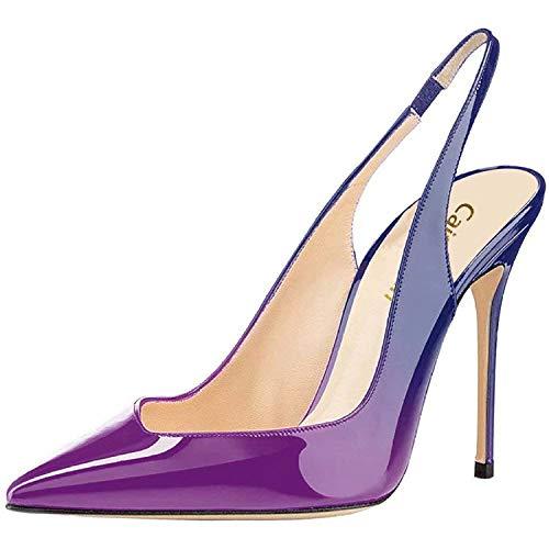 à Pan par 10cm Pompes Aiguille Caitlin Bleu Semelle Bout Rouge pointuSlingback Violet Talons Chaussures Femmes à Défaut Hauts Talon gT8qdv