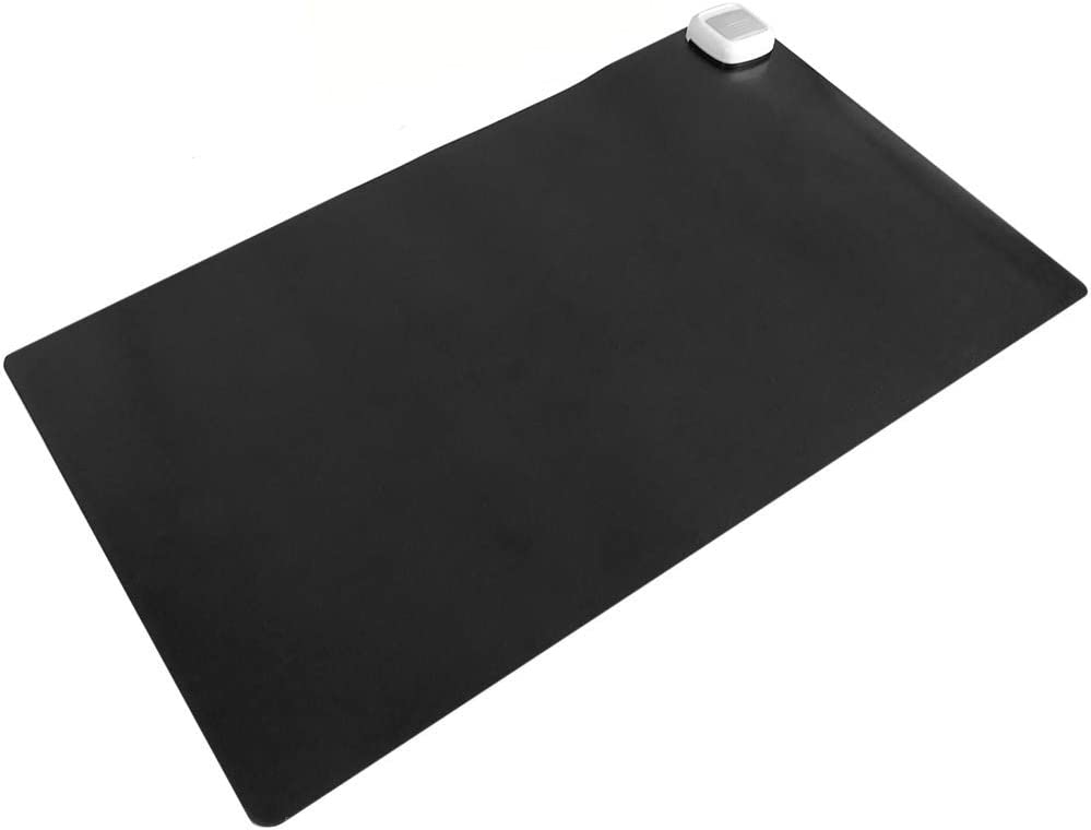 PrimeMatik - Alfombra y Superficie térmica con calefacción para Escritorio Suelo y pies de 60 x 36 cm 65W Negro