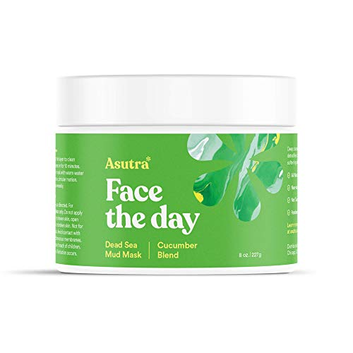 Asutra, Organic Dead Sea Mud Mask,CUCUMBER BLEND + FREE Applicator Brush, Combat Acne, Oily Skin & Blackheads, Minimize Pores, For Smooth, Beautiful & Healthy Looking Skin, 8 oz