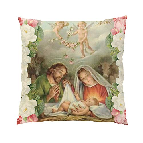 - Suklly Christmas Roses Baby Jesus St Joseph Mary Angel Fancy Hidden Zipper Home Sofa Decorative Throw Pillow Cover Cushion Case 16x16 Inch Square Two Sides Design Printed Pillowcase