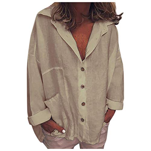 (ANJUNIE Women Lapel Casual Blouse Solid Button Down V-Neck Pocket Cotton Top Blouse Sweater Thin Outwear(Khaki,S))