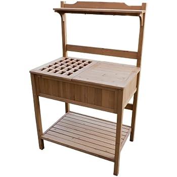 Amazon Com Garden Potting Bench With Storage Shelf Wood